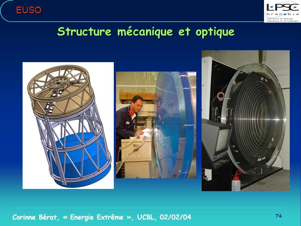 74 Corinne Bérat, « Energie Extrême », UCBL, 02/02/04EUSO Structure mécanique et optique