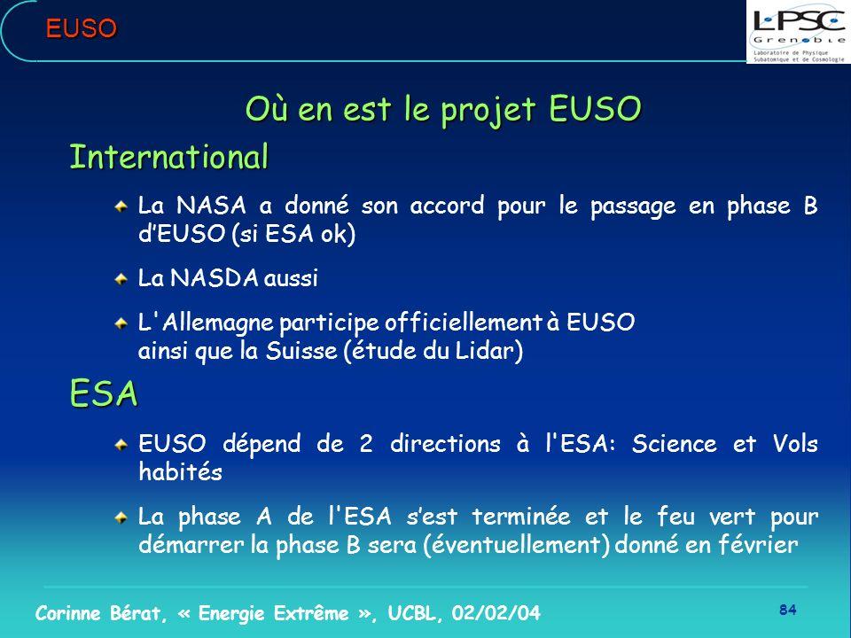84 Corinne Bérat, « Energie Extrême », UCBL, 02/02/04EUSO Où en est le projet EUSO International La NASA a donné son accord pour le passage en phase B