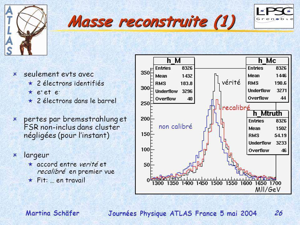 26 Journées Physique ATLAS France 5 mai 2004 Martina Schäfer Masse reconstruite (1) ûseulement evts avec «2 électrons identifiés «e + et e - «2 électrons dans le barrel ûpertes par bremsstrahlung et FSR non-inclus dans cluster négligées (pour linstant) ûlargeur «accord entre verité et recalibré en premier vue «Fit: … en travail vérité recalibré non calibré Mll/GeV