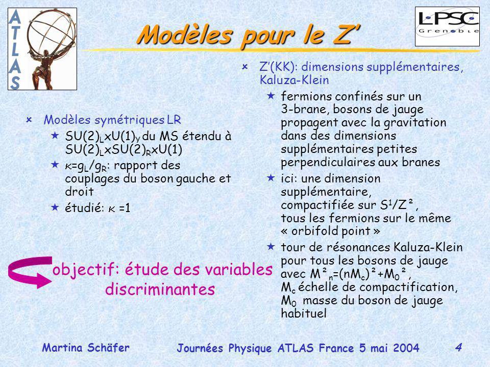 4 Journées Physique ATLAS France 5 mai 2004 Martina Schäfer Modèles pour le Z ûModèles symétriques LR «SU(2) L xU(1) Y du MS étendu à SU(2) L xSU(2) R xU(1) « =g L /g R : rapport des couplages du boson gauche et droit «étudié: =1 objectif: étude des variables discriminantes ûZ(KK): dimensions supplémentaires, Kaluza-Klein «fermions confinés sur un 3-brane, bosons de jauge propagent avec la gravitation dans des dimensions supplémentaires petites perpendiculaires aux branes «ici: une dimension supplémentaire, compactifiée sur S 1 /Z², tous les fermions sur le même « orbifold point » «tour de résonances Kaluza-Klein pour tous les bosons de jauge avec M² n =(nM c )²+M 0 ², M c échelle de compactification, M 0 masse du boson de jauge habituel