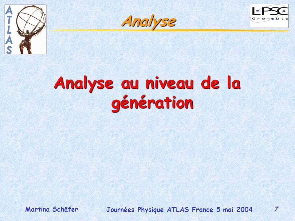 7 Journées Physique ATLAS France 5 mai 2004 Martina Schäfer Analyse Analyse au niveau de la génération