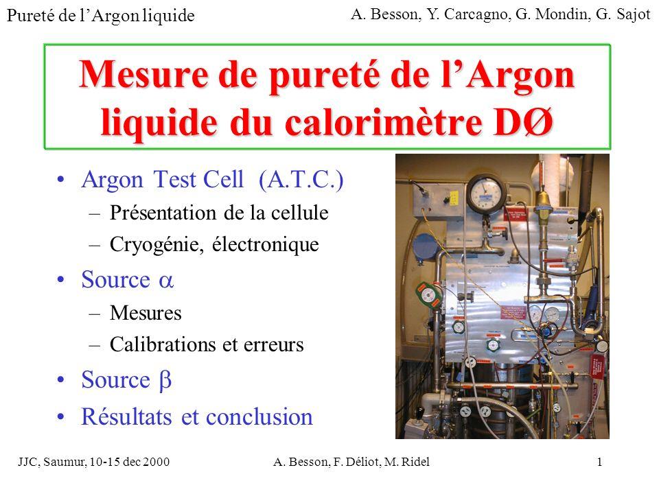 JJC, Saumur, 10-15 dec 2000A. Besson, F. Déliot, M. Ridel1 Mesure de pureté de lArgon liquide du calorimètre DØ Argon Test Cell (A.T.C.) –Présentation