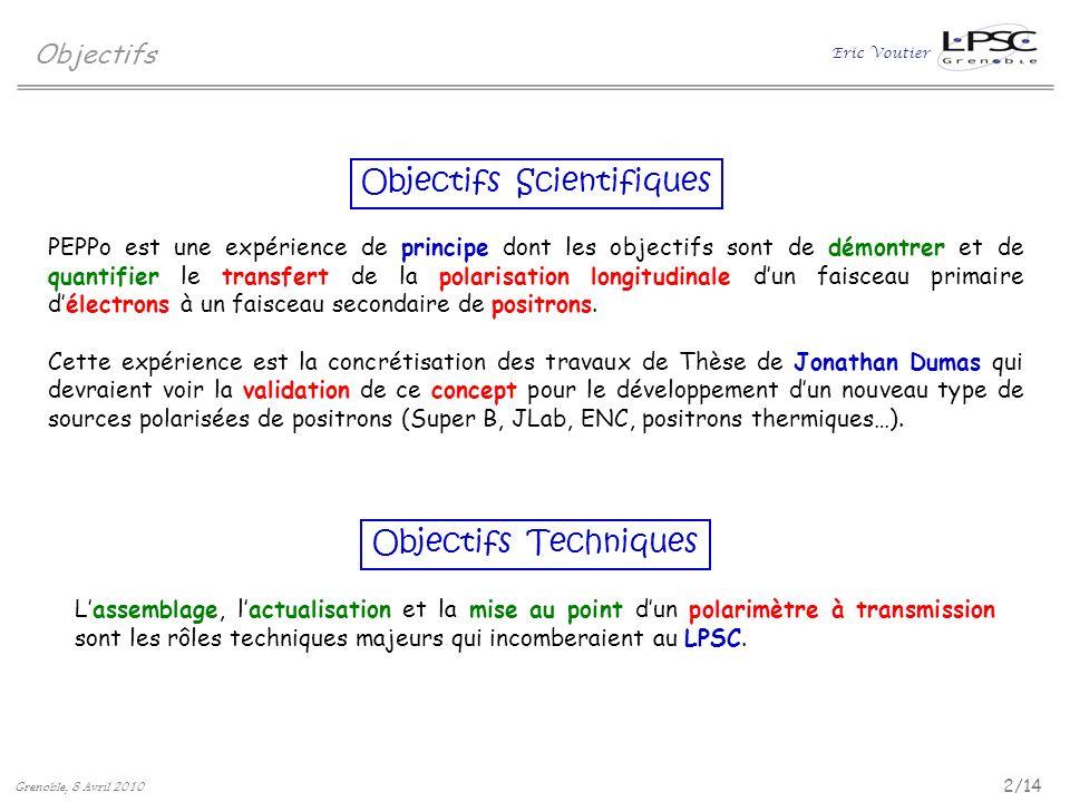 Eric Voutier Objectifs 2/14 Grenoble, 8 Avril 2010 Objectifs Scientifiques Objectifs Techniques PEPPo est une expérience de principe dont les objectif