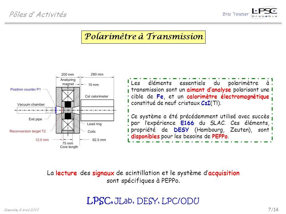 Eric Voutier 7/14 Grenoble, 8 Avril 2010 Pôles d Activités Polarimètre à Transmission LPSC, JLab, DESY, LPC/ODU Les éléments essentiels du polarimètre