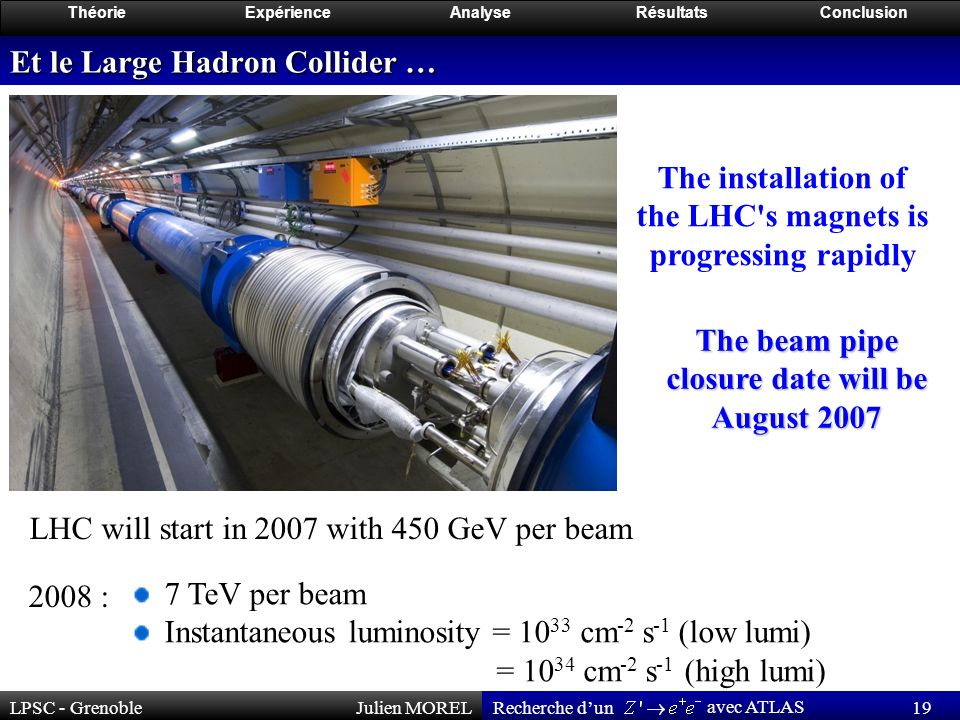 LPSC - GrenobleJulien MOREL 19 Recherche dun avec ATLAS ThéorieExpérienceAnalyseRésultatsConclusion Et le Large Hadron Collider … The installation of the LHC s magnets is progressing rapidly LHC will start in 2007 with 450 GeV per beam 7 TeV per beam Instantaneous luminosity = 10 33 cm -2 s -1 (low lumi) = 10 34 cm -2 s -1 (high lumi) 2008 : The beam pipe closure date will be August 2007