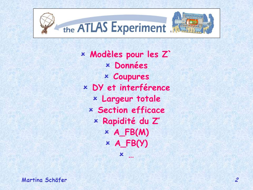 3 réunion de groupe février 2004Martina Schäfer Modèles pour le Z SSM Z avec les mêmes constants de couplages que le Z E6 modèles Z=sinß Z + cosß Z Z, Z et Z LR symétrique modèles =1 Z(KK) Pythia expert!!!