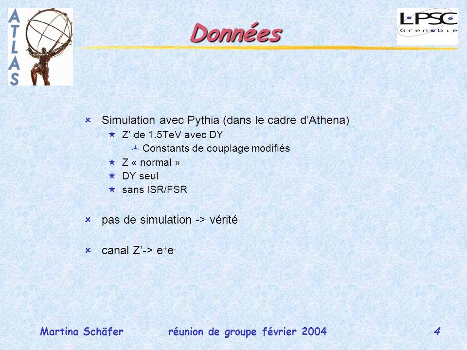 4 réunion de groupe février 2004Martina Schäfer Données Simulation avec Pythia (dans le cadre dAthena) Z de 1.5TeV avec DY Constants de couplage modifiés Z « normal » DY seul sans ISR/FSR pas de simulation -> vérité canal Z-> e + e -