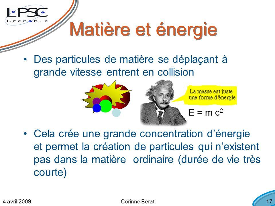 4 avril 2009Corinne Bérat17 Des particules de matière se déplaçant à grande vitesse entrent en collision Cela crée une grande concentration dénergie et permet la création de particules qui nexistent pas dans la matière ordinaire (durée de vie très courte) Matière et énergie E = m c 2