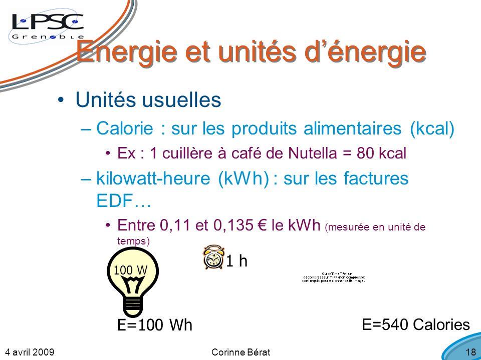 4 avril 2009Corinne Bérat18 Energie et unités dénergie Unités usuelles –Calorie : sur les produits alimentaires (kcal) Ex : 1 cuillère à café de Nutella = 80 kcal –kilowatt-heure (kWh) : sur les factures EDF… Entre 0,11 et 0,135 le kWh (mesurée en unité de temps) 100 W 1 h E=100 Wh E=540 Calories
