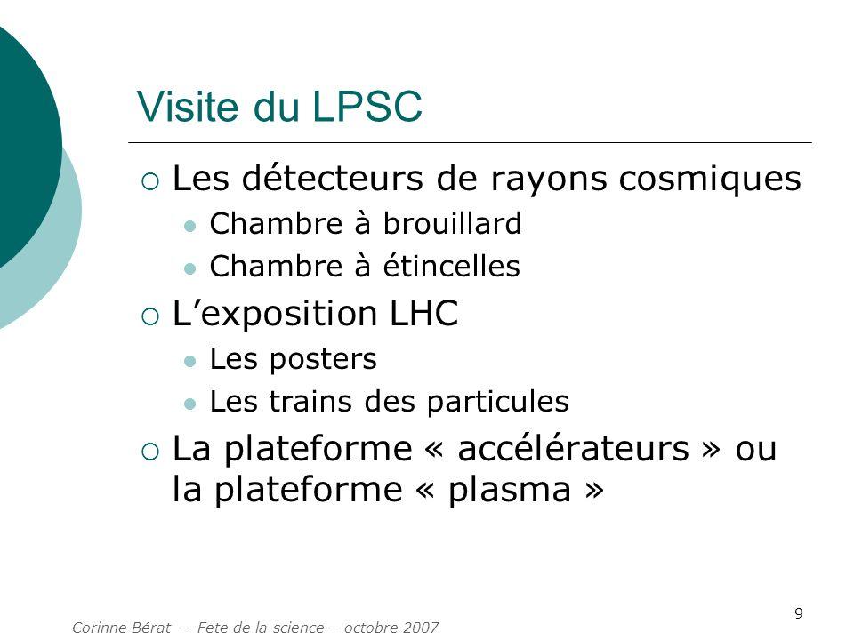 Corinne Bérat - Fete de la science – octobre 2007 9 Visite du LPSC Les détecteurs de rayons cosmiques Chambre à brouillard Chambre à étincelles Lexpos