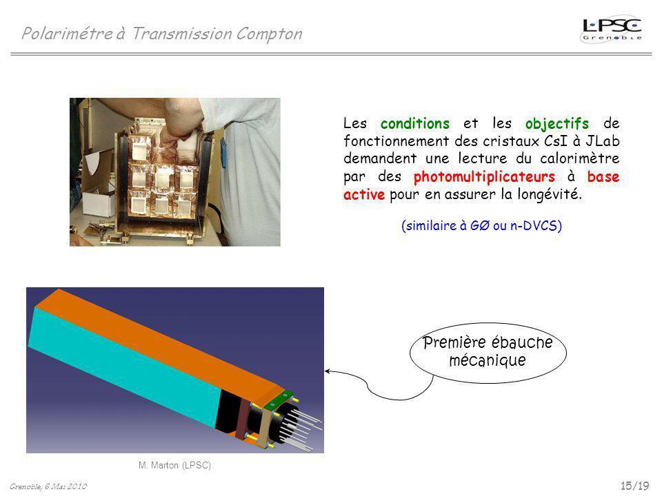 15/19 Polarimétre à Transmission Compton M. Marton (LPSC) Grenoble, 6 Mai 2010 Les conditions et les objectifs de fonctionnement des cristaux CsI à JL