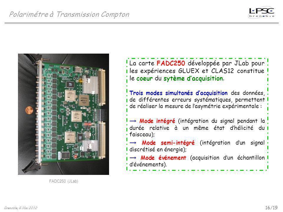 16/19 Polarimétre à Transmission Compton Grenoble, 6 Mai 2010 FADC250 (JLab) La carte FADC250 développée par JLab pour les expériences GLUEX et CLAS12