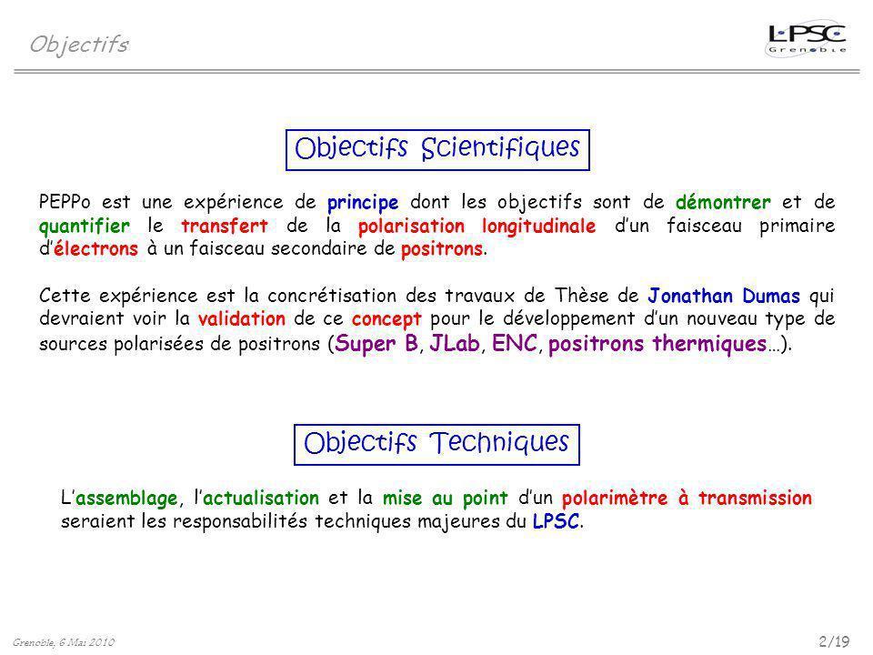 Objectifs 2/19 Grenoble, 6 Mai 2010 Objectifs Scientifiques Objectifs Techniques PEPPo est une expérience de principe dont les objectifs sont de démon