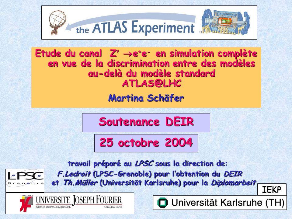 62 DEIR 25octobre 2004 Martina Schäfer Calibration (3) Results on the Z (SSM 1.5TeV), electrons at about 750GeV (E)/E (E=750GeV) =9.5%sqrt(E) -1 0.45% 0.6% ok (M)/M (M=1.5TeV) = sqrt(2) (E)/E 0.8% ok /E 0.7% resolution of electrons (Z at 1.5TeV)