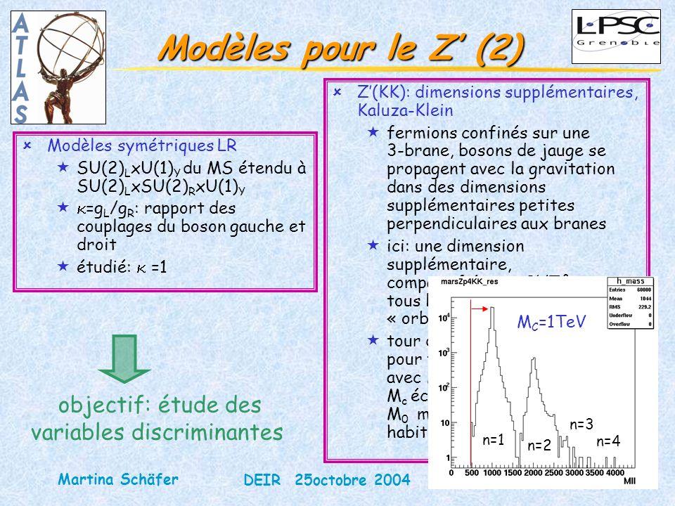 14 DEIR 25octobre 2004 Martina Schäfer Modèles pour le Z (2) ûModèles symétriques LR «SU(2) L xU(1) Y du MS étendu à SU(2) L xSU(2) R xU(1) Y « =g L /g R : rapport des couplages du boson gauche et droit «étudié: =1 objectif: étude des variables discriminantes ûZ(KK): dimensions supplémentaires, Kaluza-Klein «fermions confinés sur une 3-brane, bosons de jauge se propagent avec la gravitation dans des dimensions supplémentaires petites perpendiculaires aux branes «ici: une dimension supplémentaire, compactifiée sur S 1 /Z², tous les fermions sur le même « orbifold point » «tour de résonances Kaluza-Klein pour tous les bosons de jauge avec M² n =(nM c )²+M 0 ², M c échelle de compactification, M 0 masse du boson de jauge habituel n=1 n=2 n=3 n=4 M C =1TeV