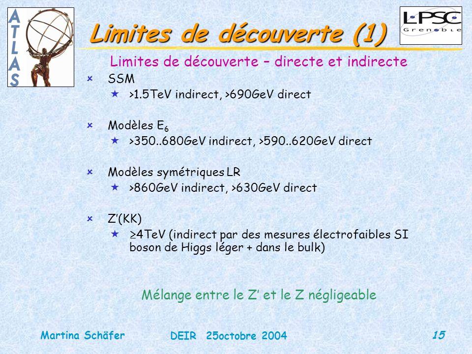 15 DEIR 25octobre 2004 Martina Schäfer Limites de découverte (1) Limites de découverte – directe et indirecte ûSSM «>1.5TeV indirect, >690GeV direct ûModèles E 6 «>350..680GeV indirect, >590..620GeV direct ûModèles symétriques LR «>860GeV indirect, >630GeV direct ûZ(KK) « 4TeV (indirect par des mesures électrofaibles SI boson de Higgs léger + dans le bulk) Mélange entre le Z et le Z négligeable