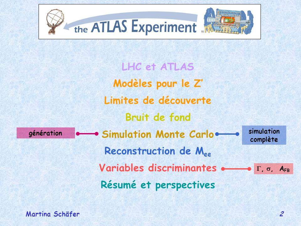23 DEIR 25octobre 2004 Martina Schäfer Simulation MC (signal) (1) ûcanal Z e + e - ûgénération avec Pythia ûsimulation complète (détecteur) avec Athena pour le Z(KK): processus externe défini par lutilisateur dans Pythia (T.Rizzo, G.Azuelos) ola forme BW complète est incluse pour le photon et le Z et leurs 2 premières résonances oles masses et couplages sont définis, les largeurs calculées oles autres résonances sont re-sommées oles éléments de matrice sont interfacés avec Pythia, Pythia est utilisé pour le QCDshowering des quarks initiaux et lhadronisation (PDF: défaut, CTEQ5L) SN-ATLAS-2003-023 G.Azuelos, G.Polesello