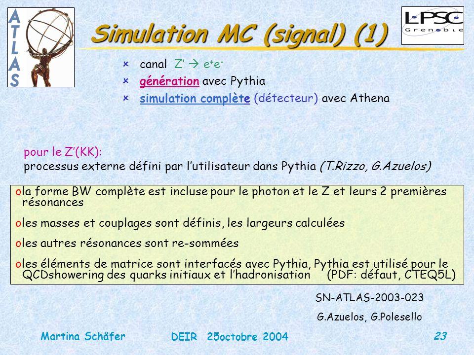 23 DEIR 25octobre 2004 Martina Schäfer Simulation MC (signal) (1) ûcanal Z e + e - ûgénération avec Pythia ûsimulation complète (détecteur) avec Athen