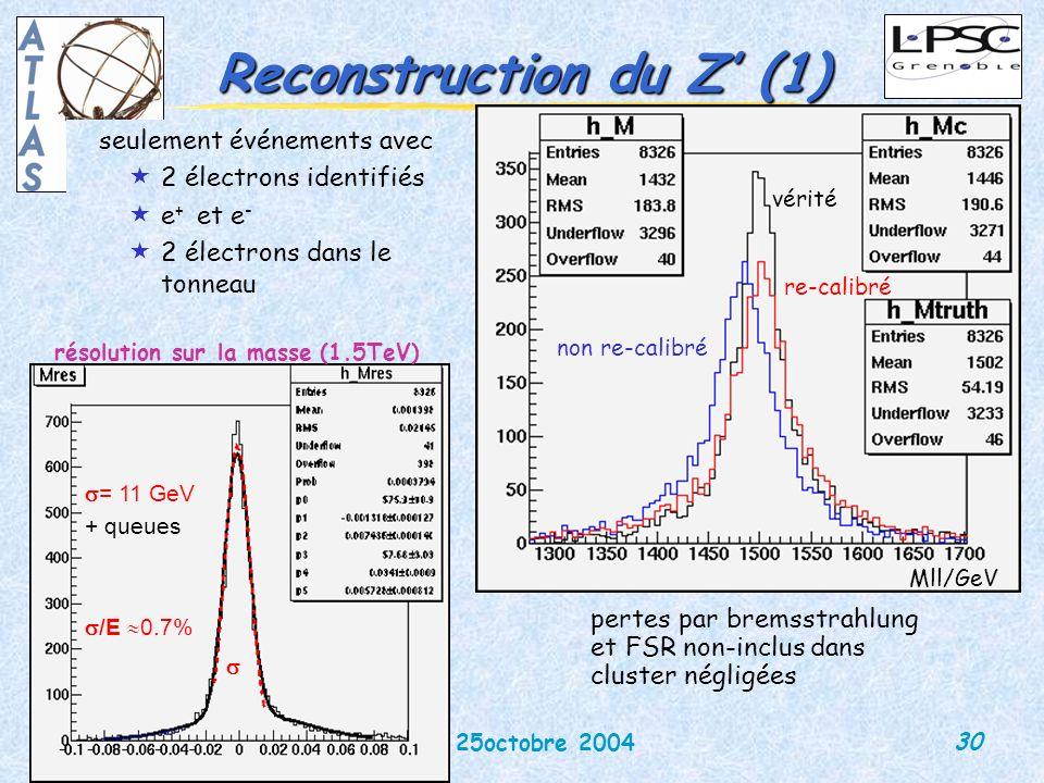 30 DEIR 25octobre 2004 Martina Schäfer Reconstruction du Z (1) seulement événements avec «2 électrons identifiés «e + et e - «2 électrons dans le tonneau résolution sur la masse (1.5TeV) = 11 GeV + queues /E 0.7% pertes par bremsstrahlung et FSR non-inclus dans cluster négligées vérité re-calibré non re-calibré Mll/GeV