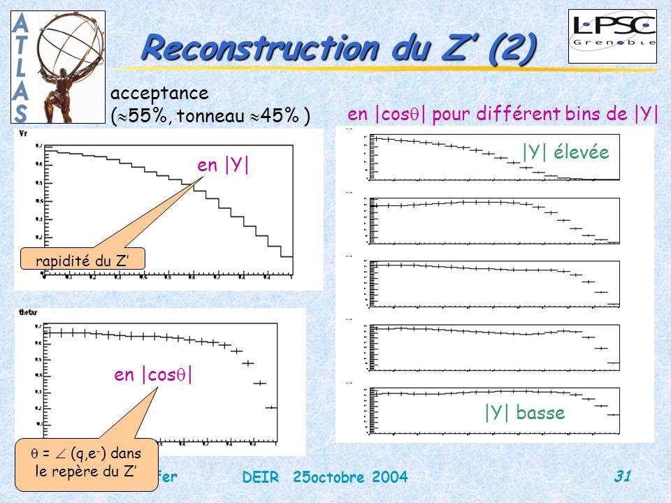 31 DEIR 25octobre 2004 Martina Schäfer Reconstruction du Z (2) acceptance ( 55%, tonneau 45% ) en |Y| en |cos | en |cos | pour différent bins de |Y| |Y| élevée |Y| basse = (q,e - ) dans le repère du Z rapidité du Z