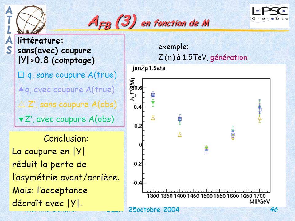 46 DEIR 25octobre 2004 Martina Schäfer A FB (3) en fonction de M exemple: Z( ) à 1.5TeV, génération littérature: sans(avec) coupure |Y|>0.8 (comptage) q, sans coupure A(true) q, avec coupure A(true) Z, sans coupure A(obs) Z, avec coupure A(obs) Conclusion: La coupure en |Y| réduit la perte de lasymétrie avant/arrière.