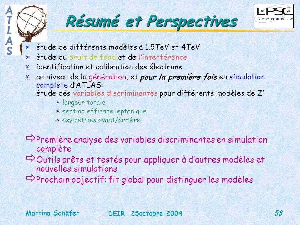 53 DEIR 25octobre 2004 Martina Schäfer Résumé et Perspectives ûétude de différents modèles à 1.5TeV et 4TeV ûétude du bruit de fond et de linterférenc