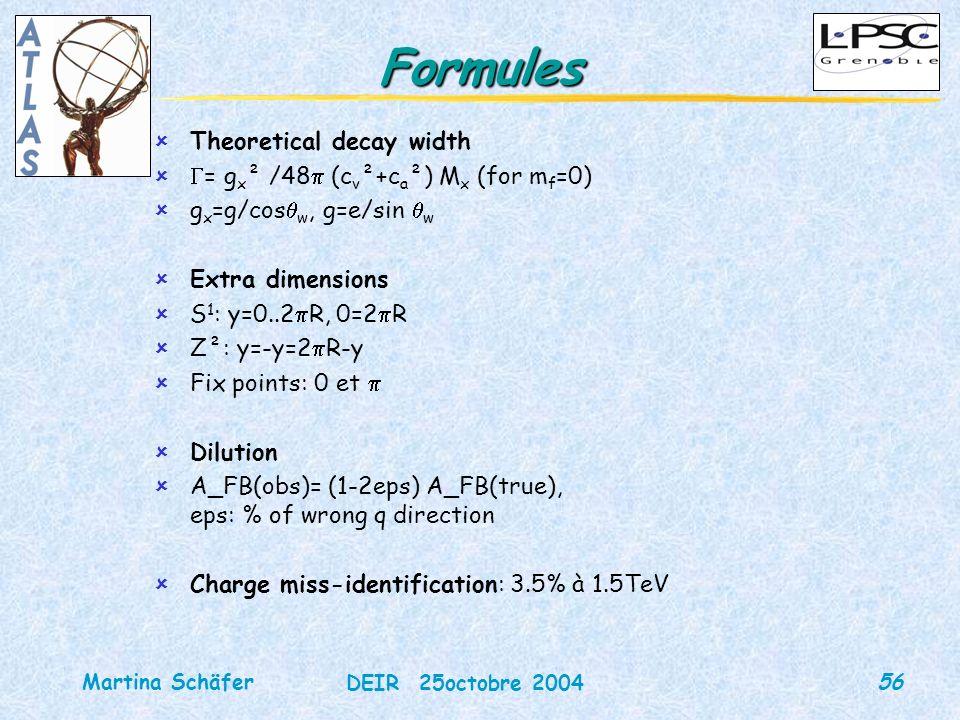 56 DEIR 25octobre 2004 Martina Schäfer Formules ûTheoretical decay width û = g x ² /48 (c v ²+c a ²) M x (for m f =0) ûg x =g/cos w, g=e/sin w ûExtra