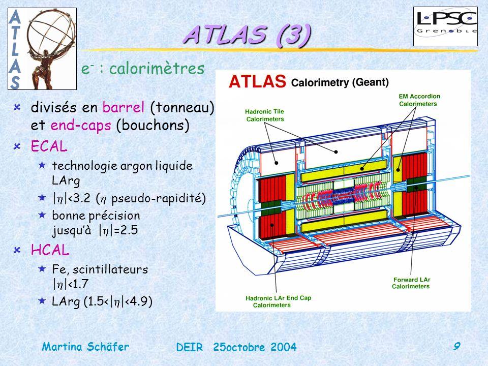 10 DEIR 25octobre 2004 Martina Schäfer ATLAS (4) calorimètre à échantillonnage milieu sensible : argon liquide absorbeur : plomb ~24X 0 (barrel), ~26X 0 (EC) structure accordéon 3 compartiments longitudinaux « strips »: séparation / « middle »: dépôt dénergie principal « back »: gerbes très énergétiques segmentation en cellules, ~200 000 canaux résolution (haute E) pré-échantillonneur PS en | |<1.8 pertes dénergie dans la matière traversée en amont
