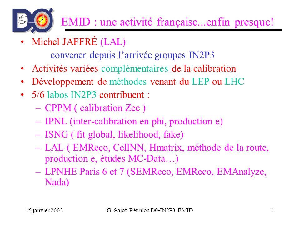 15 janvier 2002G. Sajot Réunion D0-IN2P3 EMID1 EMID : une activité française...enfin presque! Michel JAFFRÉ (LAL) convener depuis larrivée groupes IN2