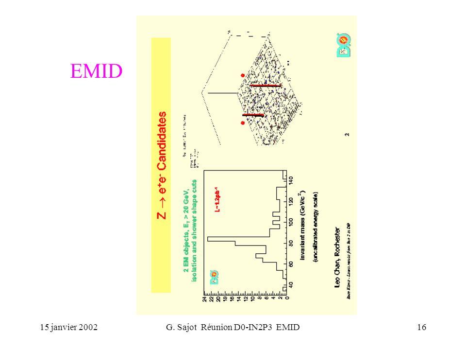 15 janvier 2002G. Sajot Réunion D0-IN2P3 EMID16 EMID