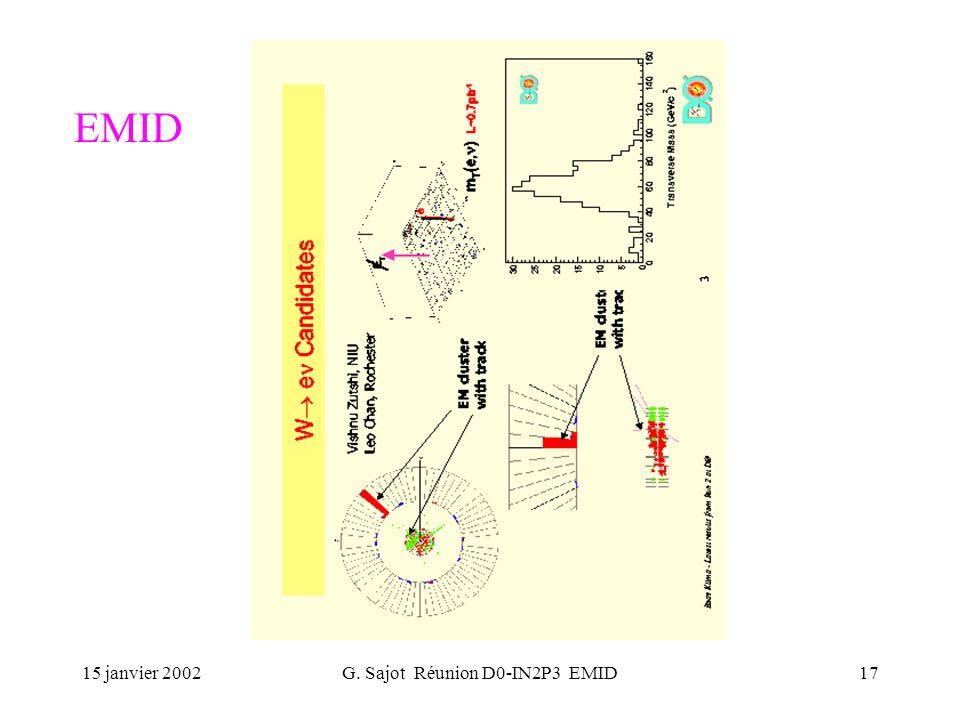 15 janvier 2002G. Sajot Réunion D0-IN2P3 EMID17 EMID
