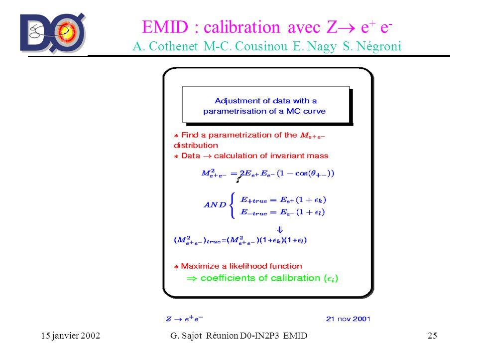 15 janvier 2002G. Sajot Réunion D0-IN2P3 EMID25 EMID : calibration avec Z e + e - A. Cothenet M-C. Cousinou E. Nagy S. Négroni