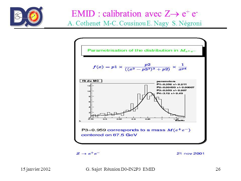 15 janvier 2002G. Sajot Réunion D0-IN2P3 EMID26 EMID : calibration avec Z e + e - A. Cothenet M-C. Cousinou E. Nagy S. Négroni