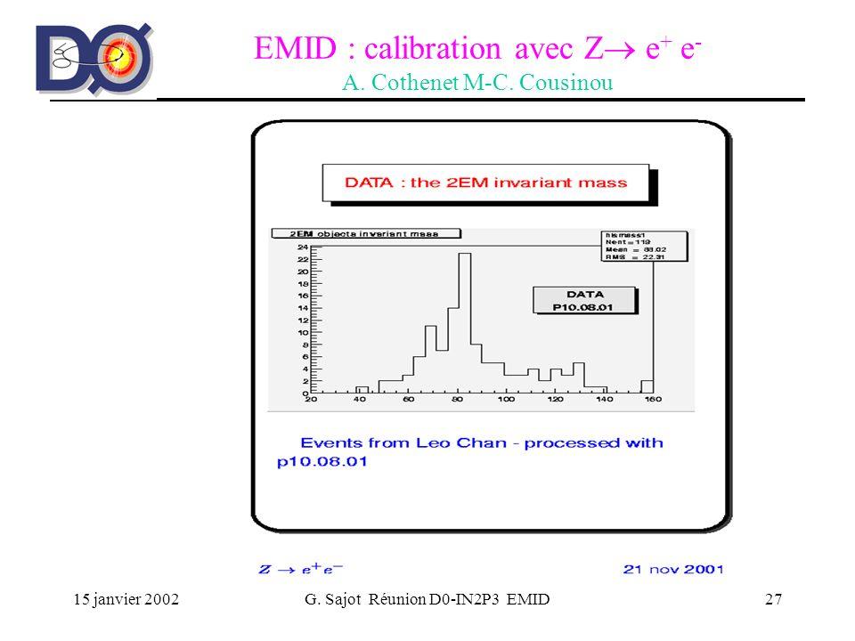 15 janvier 2002G. Sajot Réunion D0-IN2P3 EMID27 EMID : calibration avec Z e + e - A. Cothenet M-C. Cousinou