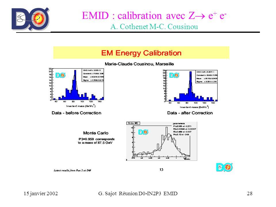 15 janvier 2002G. Sajot Réunion D0-IN2P3 EMID28 EMID : calibration avec Z e + e - A. Cothenet M-C. Cousinou