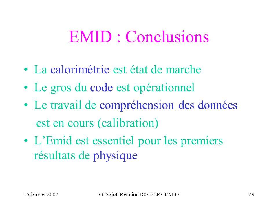 15 janvier 2002G. Sajot Réunion D0-IN2P3 EMID29 EMID : Conclusions La calorimétrie est état de marche Le gros du code est opérationnel Le travail de c