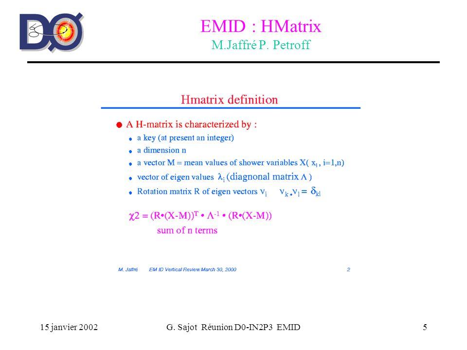 15 janvier 2002G. Sajot Réunion D0-IN2P3 EMID5 EMID : HMatrix M.Jaffré P. Petroff
