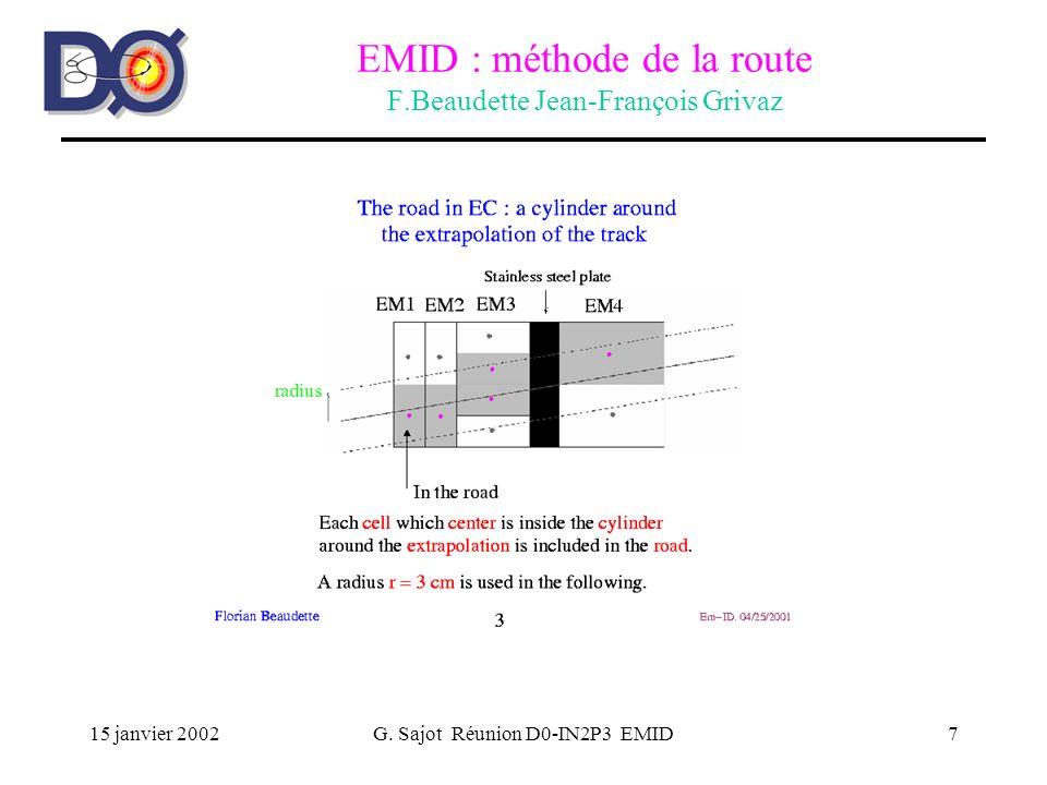15 janvier 2002G. Sajot Réunion D0-IN2P3 EMID7 EMID : méthode de la route F.Beaudette Jean-François Grivaz