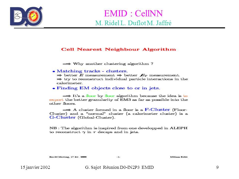 15 janvier 2002G. Sajot Réunion D0-IN2P3 EMID10 EMID : CellNN M. Ridel L. Duflot