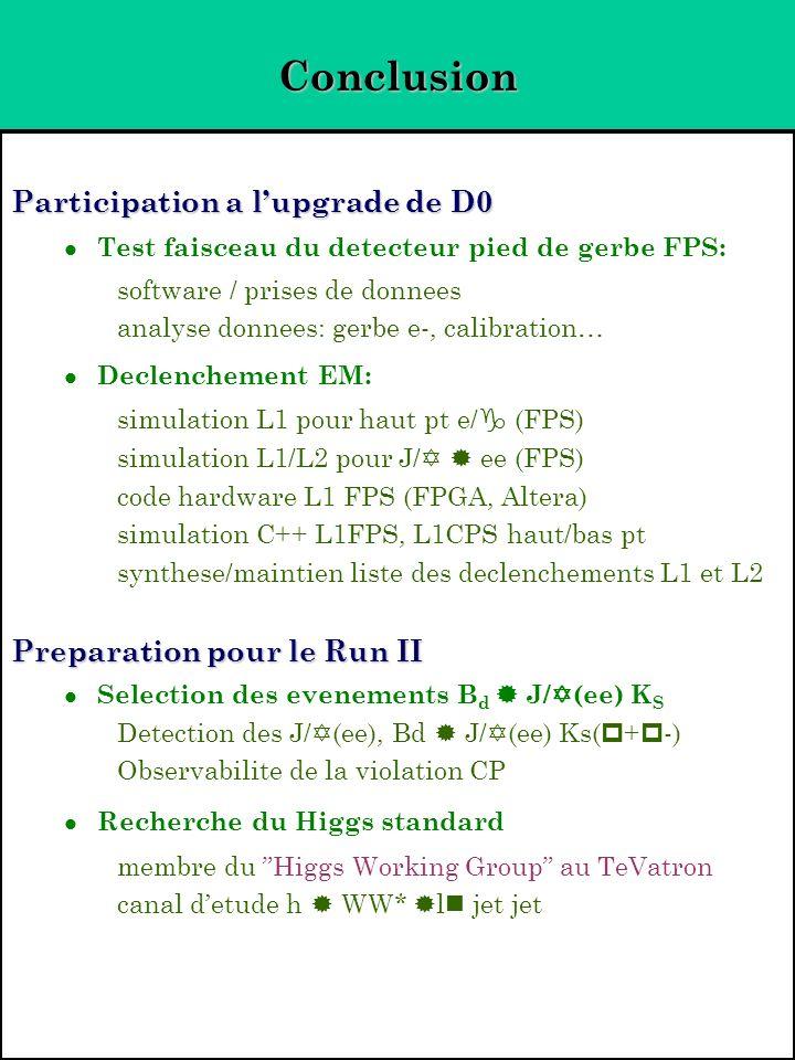 Conclusion Participation a lupgrade de D0 Test faisceau du detecteur pied de gerbe FPS: software / prises de donnees analyse donnees: gerbe e-, calibr