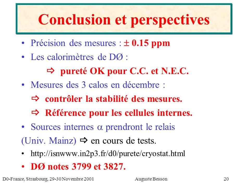 D0-France, Strasbourg, 29-30 Novembre 2001Auguste Besson20 Conclusion et perspectives Précision des mesures : 0.15 ppm Les calorimètres de DØ : pureté OK pour C.C.