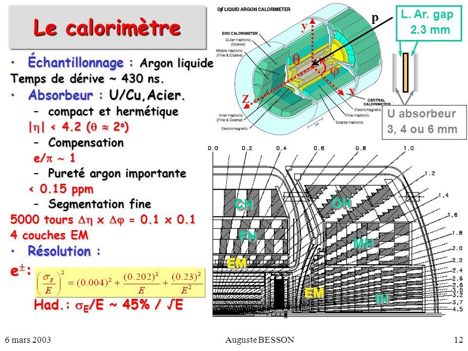 6 mars 2003Auguste BESSON12 Le calorimètre Échantillonnage : Argon liquideÉchantillonnage : Argon liquide Temps de dérive ~ 430 ns. Absorbeur : U/Cu,A