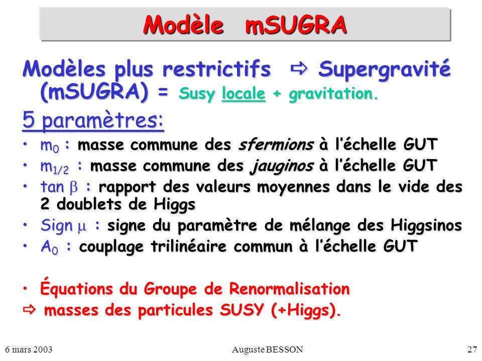 6 mars 2003Auguste BESSON27 Modèle mSUGRA Modèles plus restrictifs Supergravité (mSUGRA) = Susy locale + gravitation. 5 paramètres: m 0 : masse commun