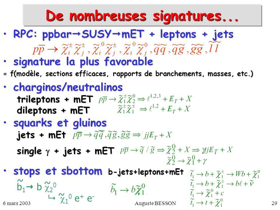 6 mars 2003Auguste BESSON29 RPC: ppbar SUSY mET + leptons + jetsRPC: ppbar SUSY mET + leptons + jets signature la plus favorablesignature la plus favo