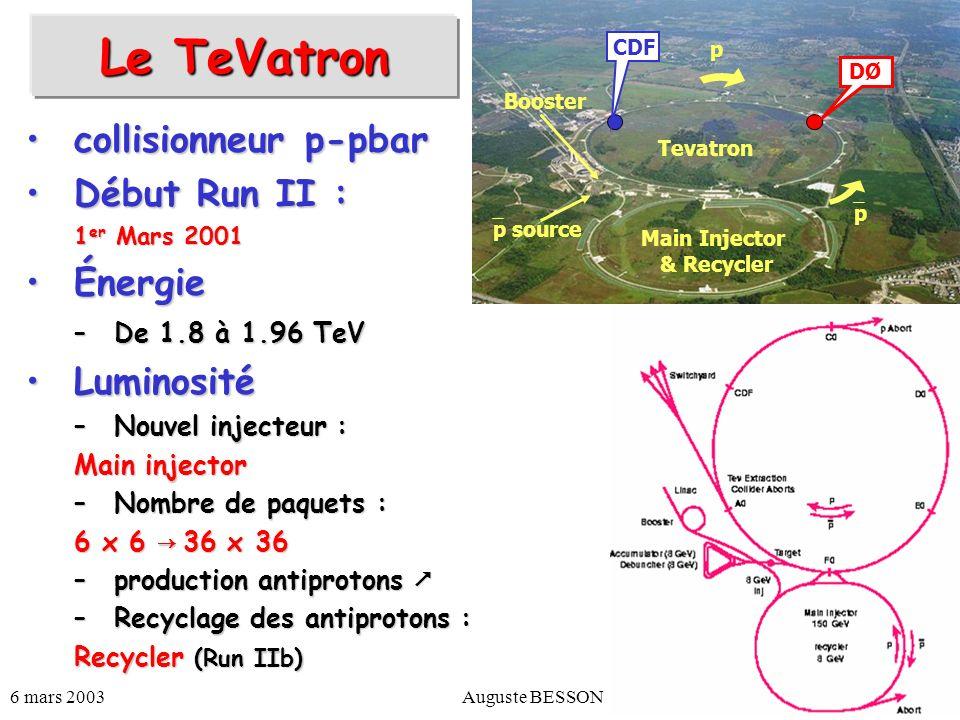 6 mars 2003Auguste BESSON4 Le TeVatron Run 1b Run 2a Run 2b Date1990-962001-2004 ~ 2004-2007 p/paquet (10 11 ) 2.32.72.7 pbar/paquet (10 10 ) 5.53.010 paquets 6 x 6 36 x 36 140 x 103 Longueur des paquets (cm) 603737 Temps entre les paquets (ns) ~ 3500 396 132 .