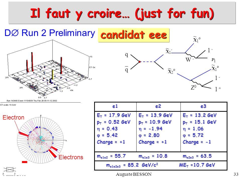 6 mars 2003Auguste BESSON33 m e1e2e3 = 85.2 GeV/c 2 ME T =10.7 GeV m e2e3 = 63.5 m e1e3 = 10.8 m e1e2 = 55.7 e3e2e1 E T = 13.2 GeV p T = 15.1 GeV = 1.