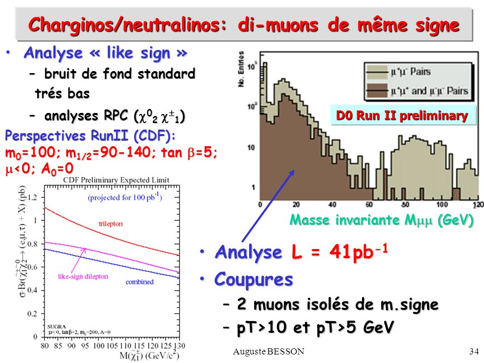 6 mars 2003Auguste BESSON34 Masse invariante M (GeV) D0 Run II preliminary Analyse « like sign »Analyse « like sign » –bruit de fond standard trés bas