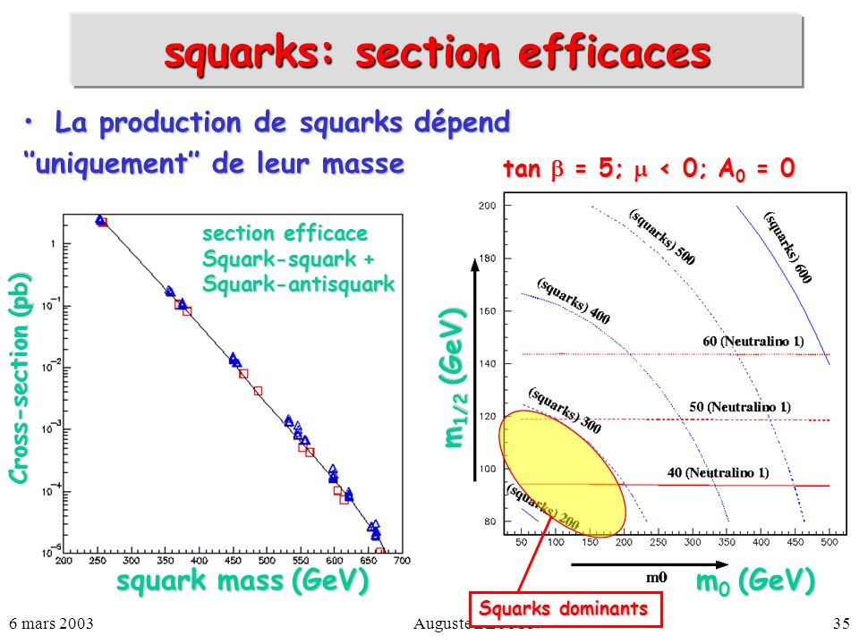 6 mars 2003Auguste BESSON35 squarks: section efficaces La production de squarks dépendLa production de squarks dépend uniquement de leur masse tan = 5