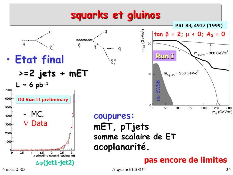 6 mars 2003Auguste BESSON36 squarks et gluinos Etat finalEtat final >=2 jets + mET PRL 83, 4937 (1999) no EWSB Run I tan = 2; < 0; A 0 = 0 D0 Run II p