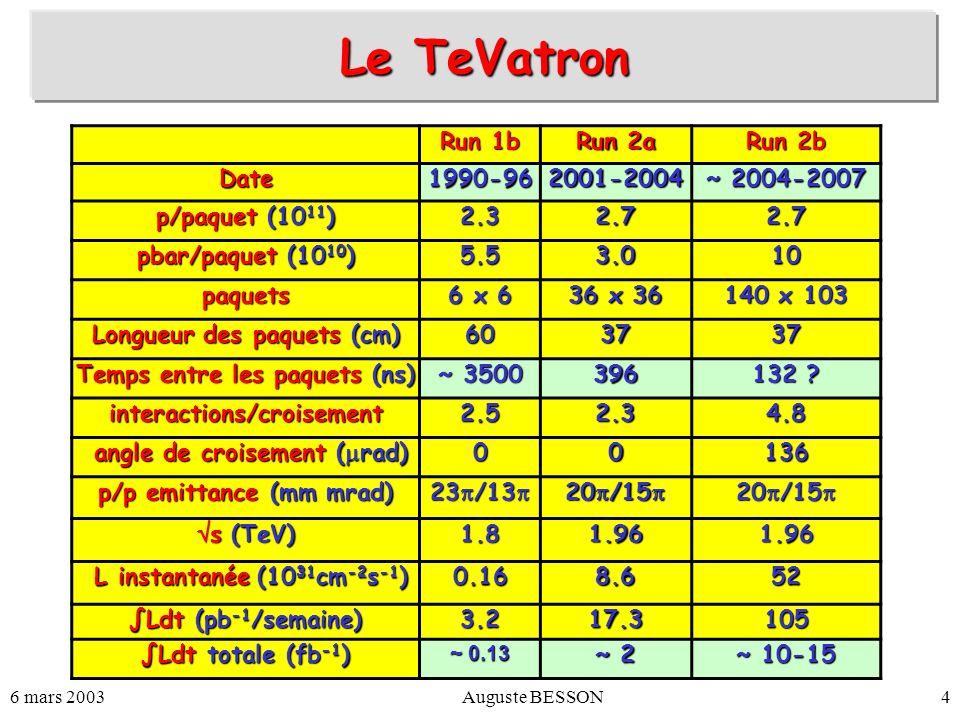 6 mars 2003Auguste BESSON4 Le TeVatron Run 1b Run 2a Run 2b Date1990-962001-2004 ~ 2004-2007 p/paquet (10 11 ) 2.32.72.7 pbar/paquet (10 10 ) 5.53.010